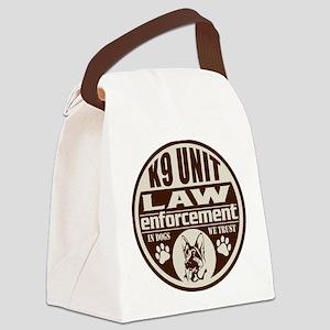 K9 In Dogs We Trust Dark Brown Canvas Lunch Bag