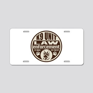 K9 In Dogs We Trust Dark Br Aluminum License Plate
