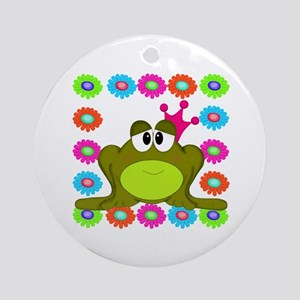 Frog Princess Flowers Ornament (Round)