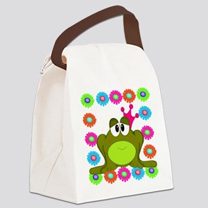 Frog Princess Flowers Canvas Lunch Bag