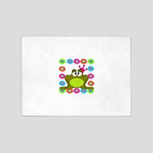 Frog Princess Flowers 5'x7'Area Rug