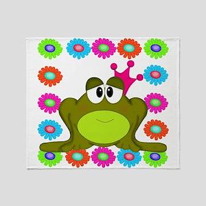Frog Princess Flowers Throw Blanket