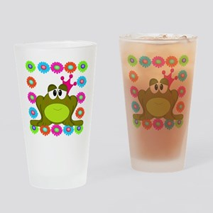 Frog Princess Flowers Drinking Glass