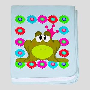 Frog Princess Flowers baby blanket