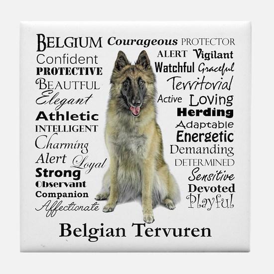 Belgian Tervuren Traits Tile Coaster