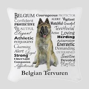 Belgian Tervuren Traits Woven Throw Pillow