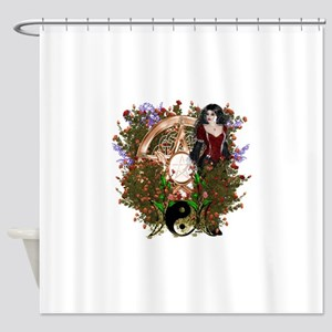 Summer Solstice Wicca Pentacle Shower Curtain
