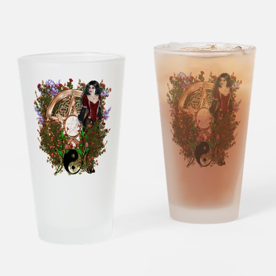 Summer Solstice Wicca Pentacle Drinking Glass