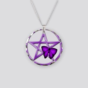 Purple Pentacle Butterfly 2 Necklace
