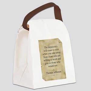 Thomas Jefferson Quote Canvas Lunch Bag