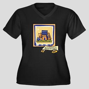 Amsterdam Women's Plus Size V-Neck Dark T-Shirt