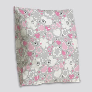 Hearts and Daisy Flower Burlap Throw Pillow
