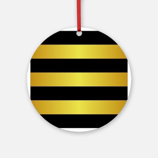 BLACK AND GOLD Horizontal Stripes Ornament (Round)