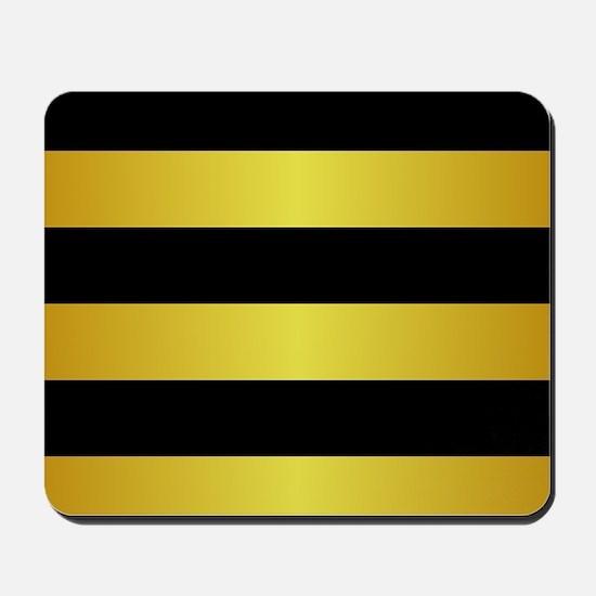 BLACK AND GOLD Horizontal Stripes Mousepad