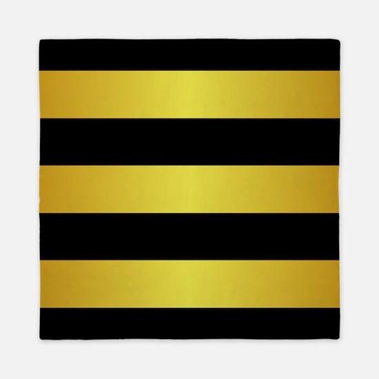 BLACK AND GOLD Horizontal Stripes Queen Duvet