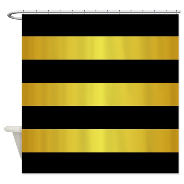 Black And Gold Horizontal Stripes Shower Curtain By