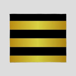 BLACK AND GOLD Horizontal Stripes Throw Blanket