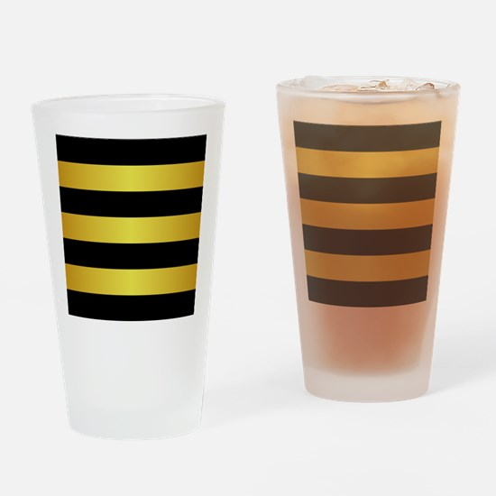 BLACK AND GOLD Horizontal Stripes Drinking Glass