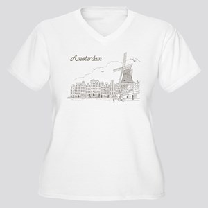 Vintage Amsterdam Women's Plus Size V-Neck T-Shirt