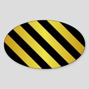 BLACK AND GOLD Diagonal Stripes Sticker