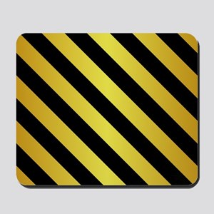 BLACK AND GOLD Diagonal Stripes Mousepad