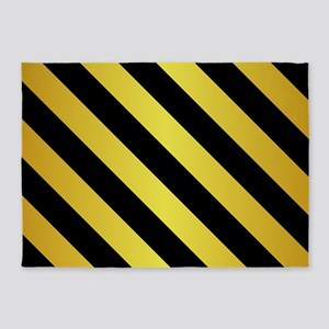 BLACK AND GOLD Diagonal Stripes 5'x7'Area Rug