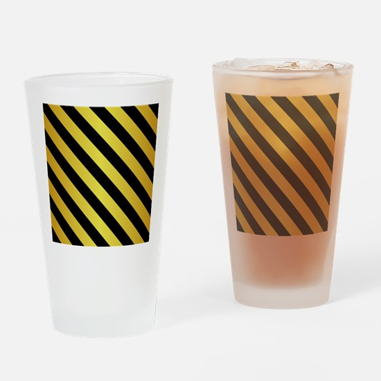 BLACK AND GOLD Diagonal Stripes Drinking Glass
