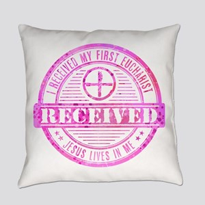 Received First Communion Pink Everyday Pillow