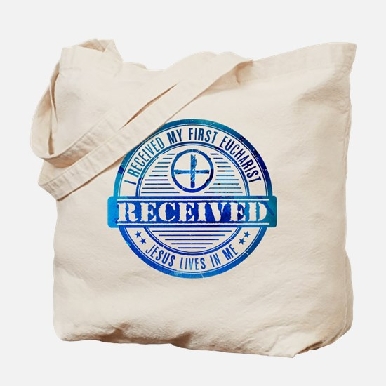Received First Communion Blue Tote Bag
