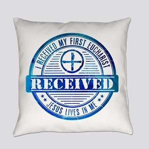 Received First Communion Blue Everyday Pillow