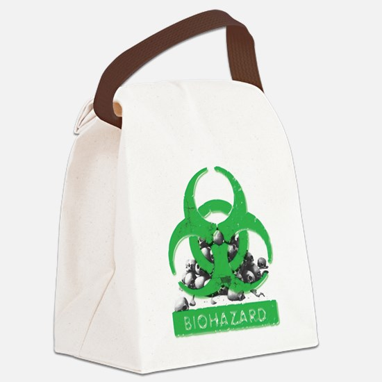 BioHazard Sign and Skulls Canvas Lunch Bag