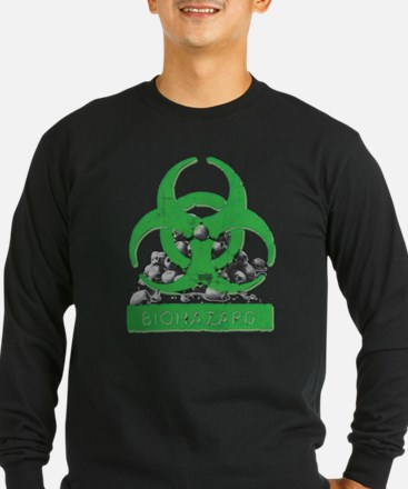 BioHazard Sign and Skulls Long Sleeve T-Shirt