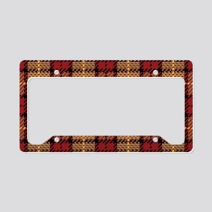 Red-Gold Pixel Plaid License Plate Holder