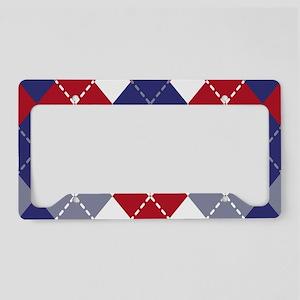 Patriotic Argyle License Plate Holder