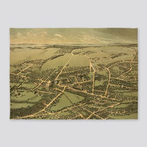 Vintage Pictorial Map of Quincy (18 5'x7'Area Rug
