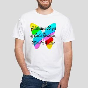 GOD LOVING 50TH White T-Shirt