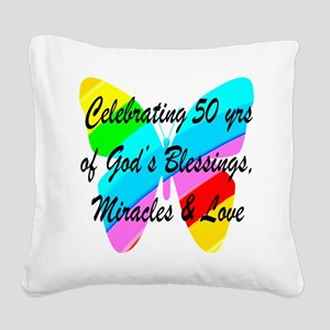 GOD LOVING 50TH Square Canvas Pillow