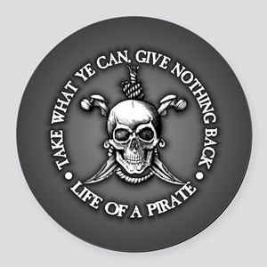 Pirate -Take What You Can Round Car Magnet