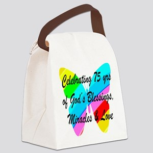 BLESSED 75 YR OLD Canvas Lunch Bag
