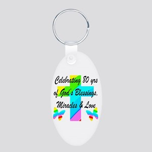 BLESSED 80 YR OLD Aluminum Oval Keychain