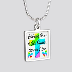 BLESSED 80 YR OLD Silver Square Necklace