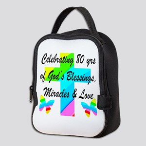 BLESSED 80 YR OLD Neoprene Lunch Bag
