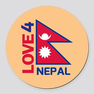 Stay Strong Nepal Round Car Magnet