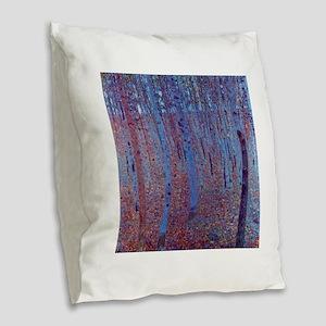 Beech Forest by Gustav Klimt, Burlap Throw Pillow