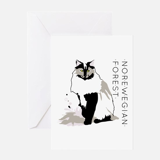 Norwegian forest cat Greeting Cards