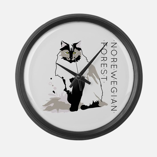 Norwegian forest cat Large Wall Clock