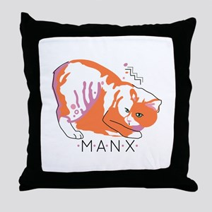 Manx cat Throw Pillow
