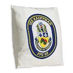 USS KAUFFMAN Burlap Throw Pillow