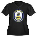 USS KAUFFMAN Women's Plus Size V-Neck Dark T-Shirt