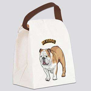 bulldog with text Canvas Lunch Bag